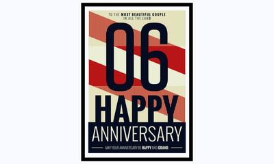 6 Years Happy Anniversary (Vector Illustration Poster Design)