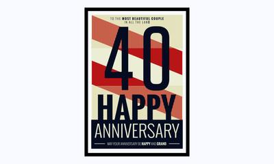 40 Years Happy Anniversary (Vector Illustration Poster Design)