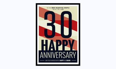 30 Years Happy Anniversary (Vector Illustration Poster Design)