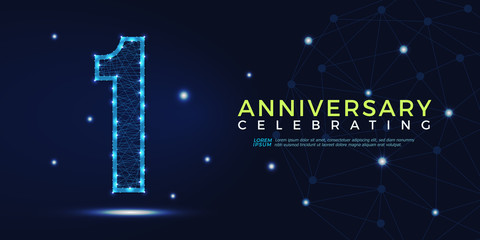1 year anniversary celebrating numbers vector abstract polygonal silhouette. 1st anniversary concept illustration consisting of point, mesh and lines