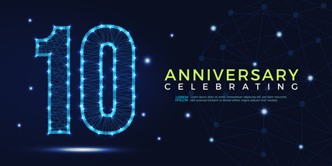 10 years anniversary celebrating numbers vector abstract polygonal silhouette. 10th anniversary concept. technology numbers vector illustration