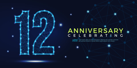 12 years anniversary celebrating numbers vector abstract polygonal silhouette. 12th anniversary concept. vector illustration