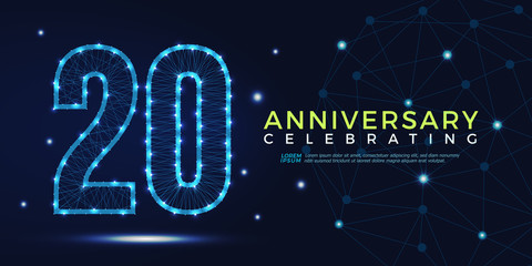 20 years anniversary celebrating numbers vector abstract polygonal silhouette. 20th anniversary concept. vector illustration