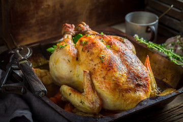 Crispy roasted chicken with spices and vegetables