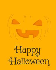 Happy Halloween card design, Halloween jack o lantern pumpkin  cartoon vector