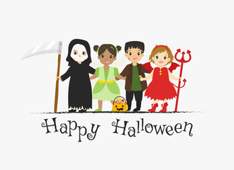 Happy Halloween card design,boys and girls wearing Halloween costumes cartoon vector