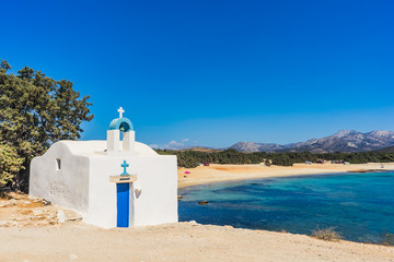 Agios Ioannis chapel on Aliko beach in Naxos island, Cyclades, Greece Wall mural