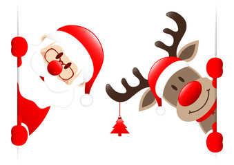 Santa & Rudolph With Tree Banner