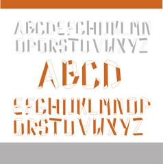 lateinisches Alphabet auf gefalteten Papierstreifen