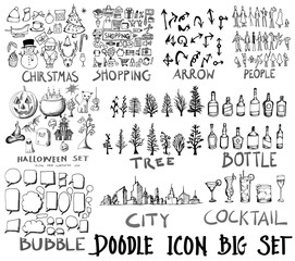 MEGA super collection set of icon doodles of christmas, shopping, arrow, people, halloween, tree, bottle, bubble, city, cocktail eps10