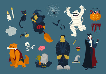 Big collection of funny and spooky Halloween cartoon characters - zombie, mummy, ghost, witch flying on broom, black cat, dead, vampire, spider on web, bats. Festive colorful flat vector illustration.