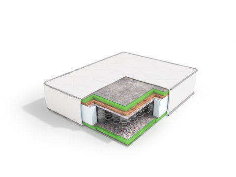 Modern orthopedic mattress white dismantled in a section with springs 3d rendering on a white background