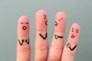 Fingers art of people during quarrel.