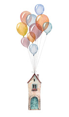 A little house flying on balloons. Watercolor illustration isolated on white background.