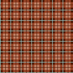 Checkered pattern, small squares, seamless pattern, brown, vector. Brown squares and blue thin lines on the light brown field. Geometric, colored background.