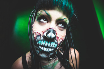 scary cyber skeleton woman face studio