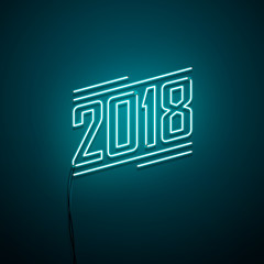 New year 2018 neon sign. Vector background.