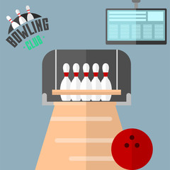 Set of vector colorful bowling icons sport strike pin symbol ball skittle game equipment illustration.