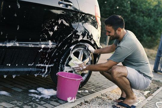 Man washing car