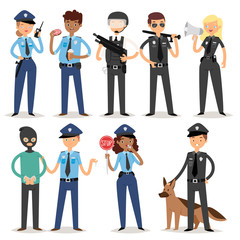 Policeman characters funny cartoon man pilice person uniform cop standing people security vector illustration.