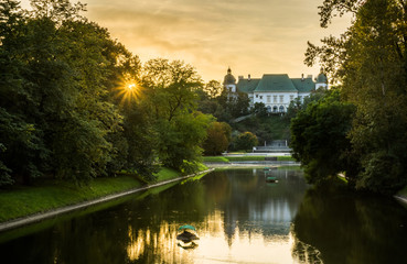 Ujazdowski castle at sunset in Warsaw, Poland