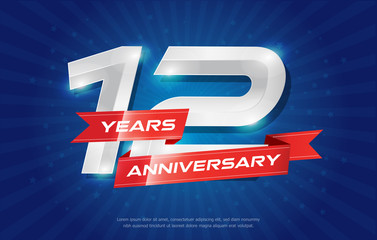 12 years anniversary background with red ribbon and star on blue background. celebrating logotype, poster or brochure template. Vector illustration