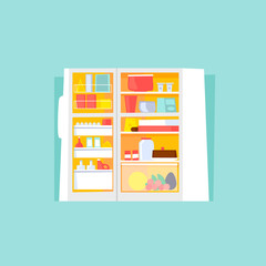 Refrigerator open with food. Flat design vector illustration.