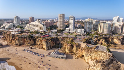 Aerial. The city of Portimao shot by drones, view from sky.