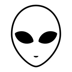 Alien icon face with large eyes isolated on white background. Extraterrestrial humanoid head. Vector illustration