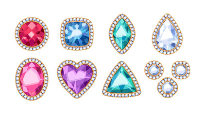 Colorful gemstones in diamond rim vector illustration.
