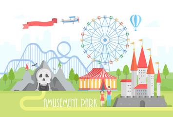 Amusement park - modern vector illustration