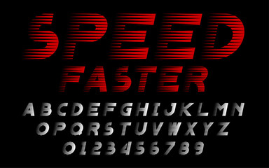 Decorative speed alphabet vector fonts and numbers.Typography design for headlines, labels, posters, logos, cover, etc.