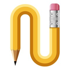 Letter n pencil icon, cartoon style