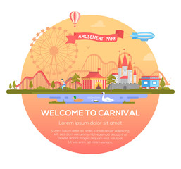 Welcome to carnival - modern vector illustration