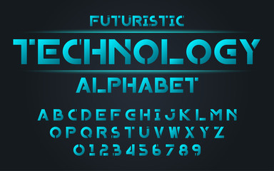 Decorative technology alphabet vector fonts and numbers.Typography design for headlines, labels, posters, logos, cover, etc.