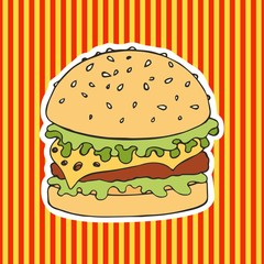 Burger on a striped background. Vector illustration. Hand drawing