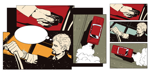 Collage on theme transport and road. Man at the wheel of car.
