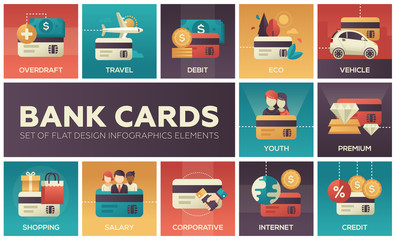 Bank cards - set of flat design infographics elements