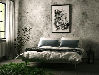Schlafzimmer mit Laternen bei Tag mit Efeu