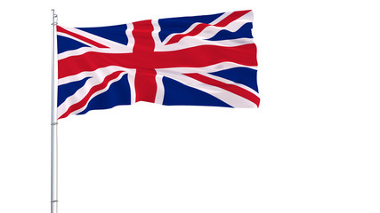Flag of Great Britain on a flagpole fluttering in the wind on a transparent blue background, 3d rendering