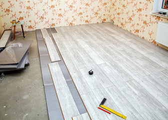Laminate Boards Prepared For Laying On The Floor