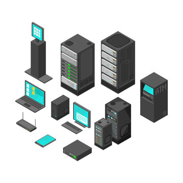 Isometric technology and banking icons. Flat vector illustration