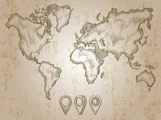 Fototapete - Vintage hand drawn world map and doodle pins