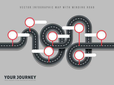 Navigation winding road vector way map infographic on grey background