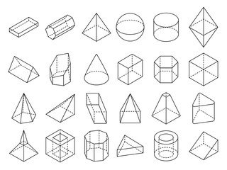 Abstract isometric 3d geometric outline shapes vector set