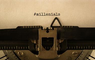 Text Millenials typed on retro typewriter