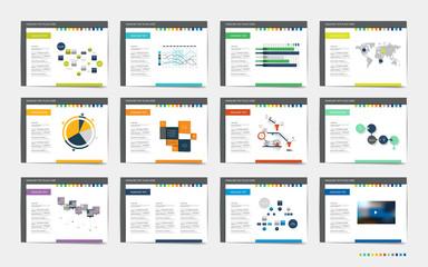 Mega set of presentation templates. Infographics for leaflet, poster, slide, magazine, book, brochure, website, print.