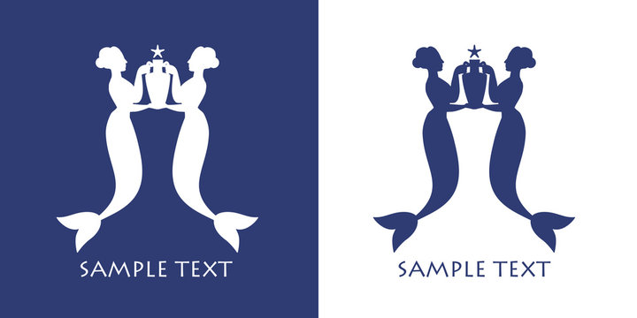 Ancient Greece mermaids or sirens carrying amphora. Mediterranean mythology
