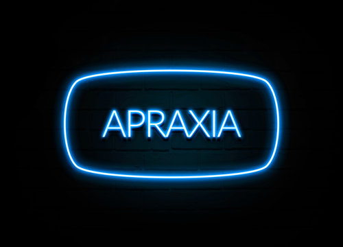 Apraxia  - colorful Neon Sign on brickwall