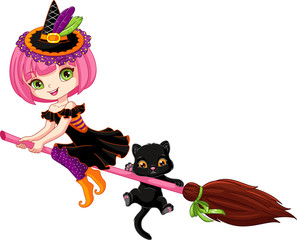 Little witch on broom
